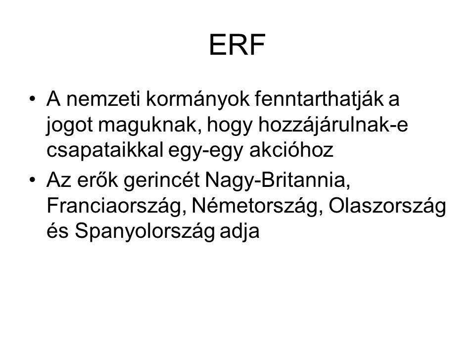 ERF A nemzeti kormányok fenntarthatják a jogot maguknak, hogy hozzájárulnak-e csapataikkal egy-egy akcióhoz Az erők gerincét Nagy-Britannia, Franciaország, Németország, Olaszország és Spanyolország adja