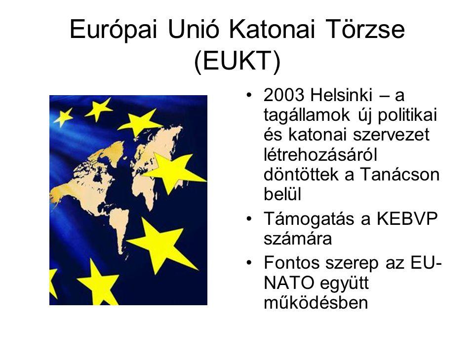 Európai Unió Katonai Törzse (EUKT) 2003 Helsinki – a tagállamok új politikai és katonai szervezet létrehozásáról döntöttek a Tanácson belül Támogatás a KEBVP számára Fontos szerep az EU- NATO együtt működésben