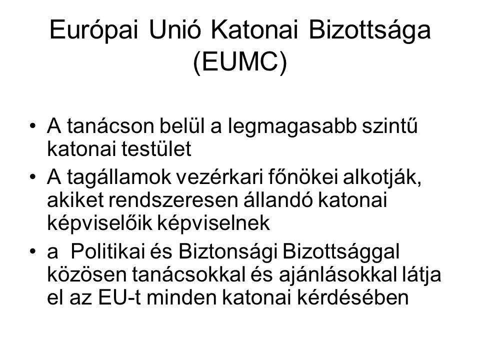 Európai Unió Katonai Bizottsága (EUMC) A tanácson belül a legmagasabb szintű katonai testület A tagállamok vezérkari főnökei alkotják, akiket rendszeresen állandó katonai képviselőik képviselnek a Politikai és Biztonsági Bizottsággal közösen tanácsokkal és ajánlásokkal látja el az EU-t minden katonai kérdésében