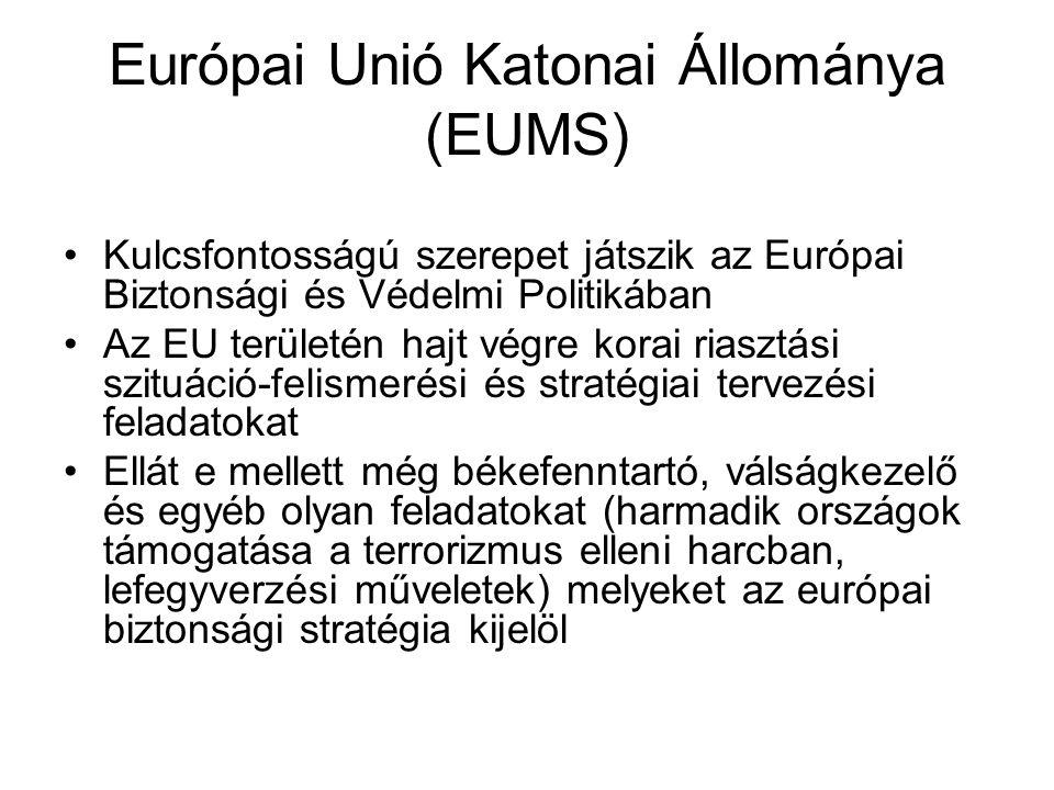 Európai Unió Katonai Állománya (EUMS) Kulcsfontosságú szerepet játszik az Európai Biztonsági és Védelmi Politikában Az EU területén hajt végre korai riasztási szituáció-felismerési és stratégiai tervezési feladatokat Ellát e mellett még békefenntartó, válságkezelő és egyéb olyan feladatokat (harmadik országok támogatása a terrorizmus elleni harcban, lefegyverzési műveletek) melyeket az európai biztonsági stratégia kijelöl