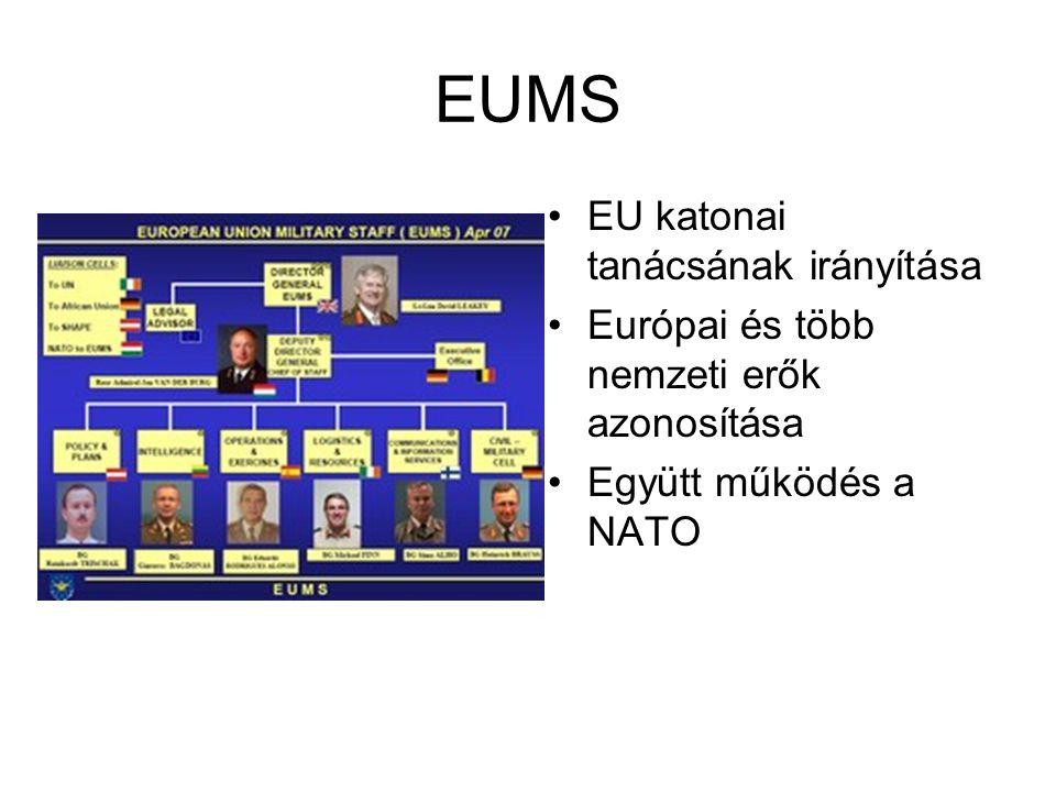 EUMS EU katonai tanácsának irányítása Európai és több nemzeti erők azonosítása Együtt működés a NATO