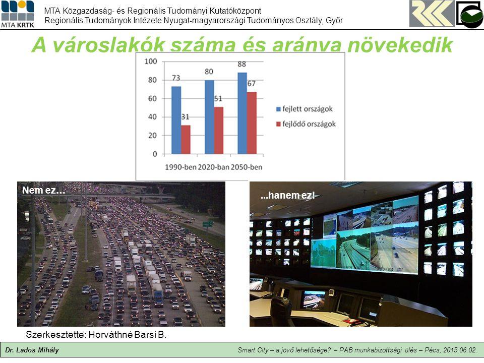 A városlakók száma és aránya növekedik Dr.Lados Mihály Szerkesztette: Horváthné Barsi B.