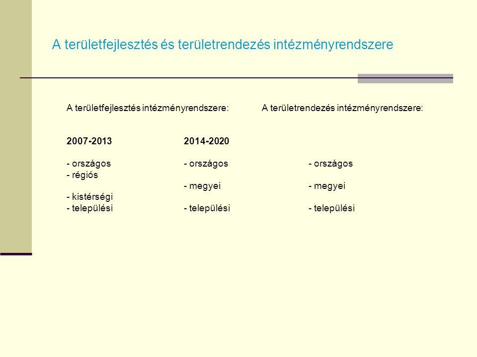 A területfejlesztés és területrendezés intézményrendszere A területfejlesztés intézményrendszere: 2007-20132014-2020- országos - régiós - megyei - kis