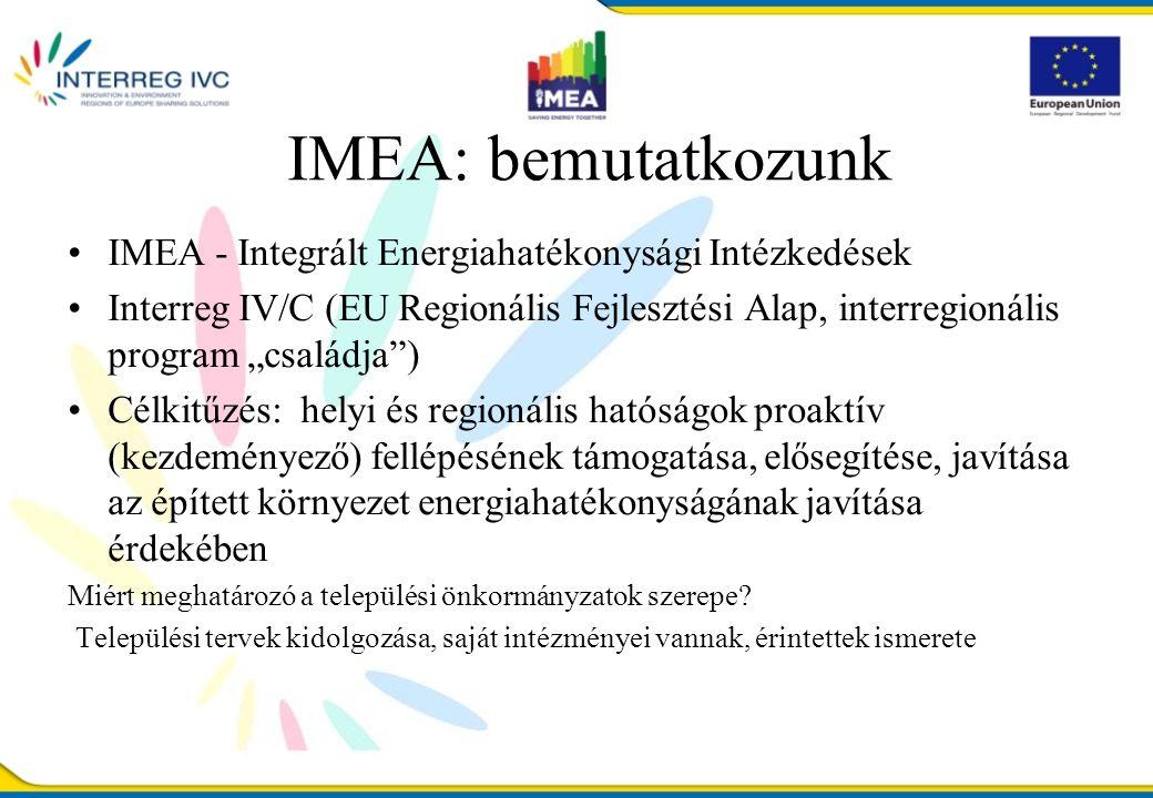 """IMEA: bemutatkozunk IMEA - Integrált Energiahatékonysági Intézkedések Interreg IV/C (EU Regionális Fejlesztési Alap, interregionális program """"családja ) Célkitűzés: helyi és regionális hatóságok proaktív (kezdeményező) fellépésének támogatása, elősegítése, javítása az épített környezet energiahatékonyságának javítása érdekében Miért meghatározó a települési önkormányzatok szerepe."""