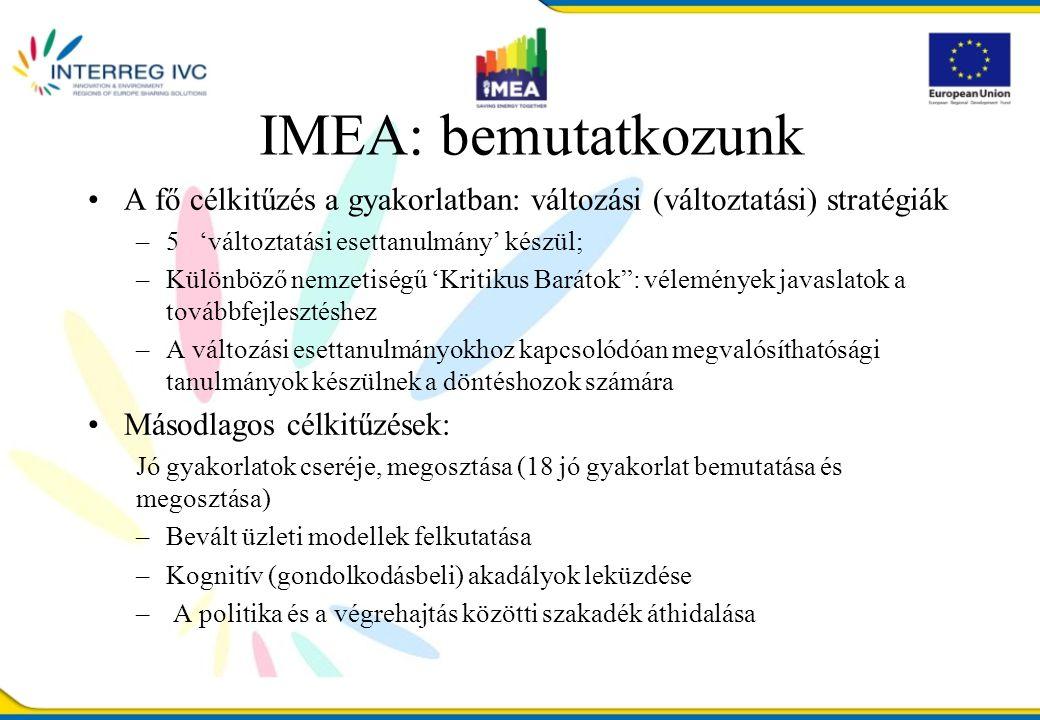 IMEA: bemutatkozunk A fő célkitűzés a gyakorlatban: változási (változtatási) stratégiák –5 'változtatási esettanulmány' készül; –Különböző nemzetiségű 'Kritikus Barátok : vélemények javaslatok a továbbfejlesztéshez –A változási esettanulmányokhoz kapcsolódóan megvalósíthatósági tanulmányok készülnek a döntéshozok számára Másodlagos célkitűzések: Jó gyakorlatok cseréje, megosztása (18 jó gyakorlat bemutatása és megosztása) –Bevált üzleti modellek felkutatása –Kognitív (gondolkodásbeli) akadályok leküzdése – A politika és a végrehajtás közötti szakadék áthidalása