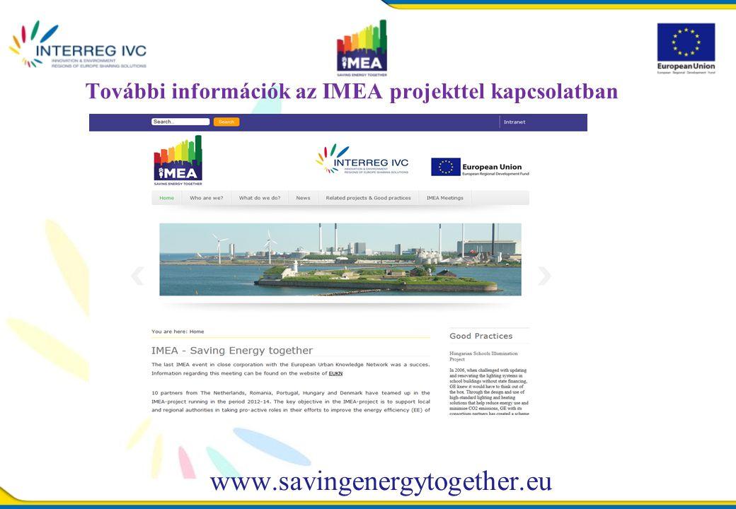 További információk az IMEA projekttel kapcsolatban www.savingenergytogether.eu