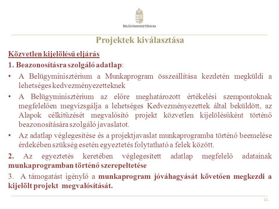 14 Projektek kiválasztása Közvetlen kijelölésű eljárás 1.
