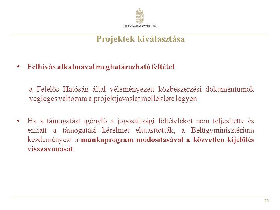 16 Projektek kiválasztása Felhívás alkalmával meghatározható feltétel: a Felelős Hatóság által véleményezett közbeszerzési dokumentumok végleges változata a projektjavaslat melléklete legyen Ha a támogatást igénylő a jogosultsági feltételeket nem teljesítette és emiatt a támogatási kérelmet elutasították, a Belügyminisztérium kezdeményezi a munkaprogram módosításával a közvetlen kijelölés visszavonását.