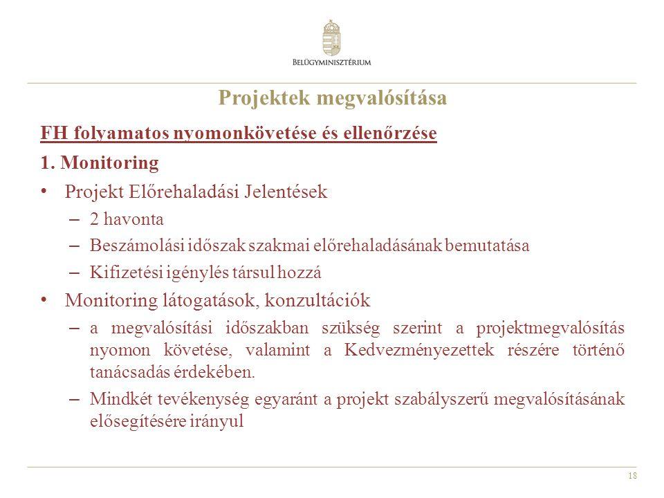 18 Projektek megvalósítása FH folyamatos nyomonkövetése és ellenőrzése 1.