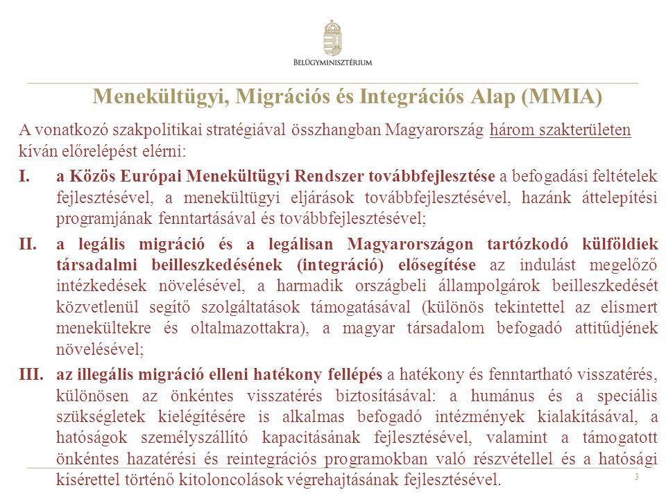 3 Menekültügyi, Migrációs és Integrációs Alap (MMIA) A vonatkozó szakpolitikai stratégiával összhangban Magyarország három szakterületen kíván előrelépést elérni: I.a Közös Európai Menekültügyi Rendszer továbbfejlesztése a befogadási feltételek fejlesztésével, a menekültügyi eljárások továbbfejlesztésével, hazánk áttelepítési programjának fenntartásával és továbbfejlesztésével; II.a legális migráció és a legálisan Magyarországon tartózkodó külföldiek társadalmi beilleszkedésének (integráció) elősegítése az indulást megelőző intézkedések növelésével, a harmadik országbeli állampolgárok beilleszkedését közvetlenül segítő szolgáltatások támogatásával (különös tekintettel az elismert menekültekre és oltalmazottakra), a magyar társadalom befogadó attitűdjének növelésével; III.az illegális migráció elleni hatékony fellépés a hatékony és fenntartható visszatérés, különösen az önkéntes visszatérés biztosításával: a humánus és a speciális szükségletek kielégítésére is alkalmas befogadó intézmények kialakításával, a hatóságok személyszállító kapacitásának fejlesztésével, valamint a támogatott önkéntes hazatérési és reintegrációs programokban való részvétellel és a hatósági kísérettel történő kitoloncolások végrehajtásának fejlesztésével.