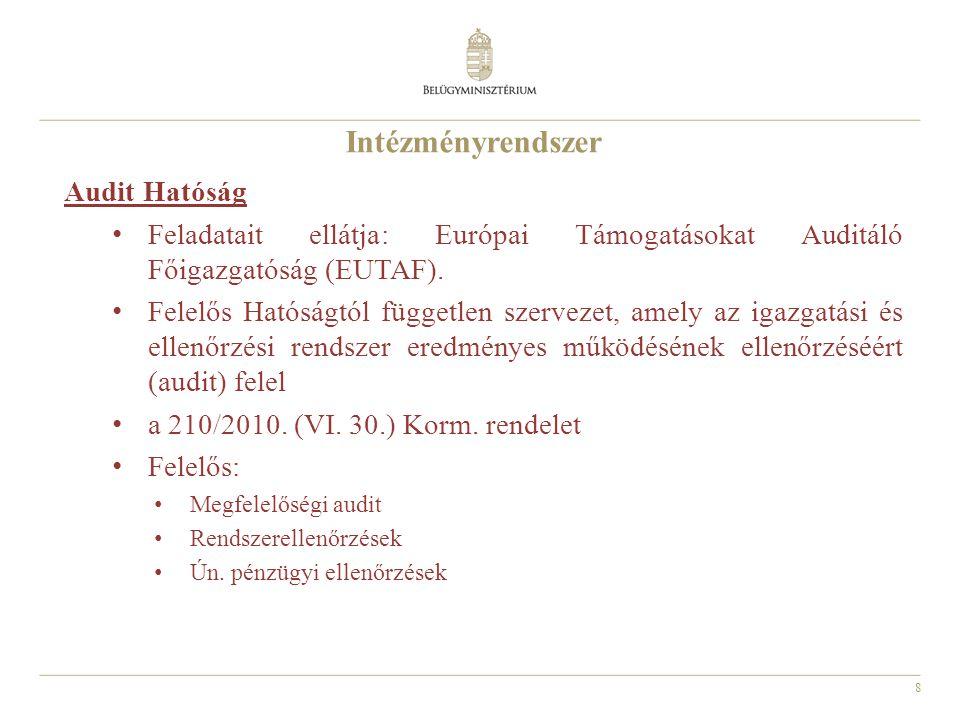 8 Audit Hatóság Feladatait ellátja: Európai Támogatásokat Auditáló Főigazgatóság (EUTAF).