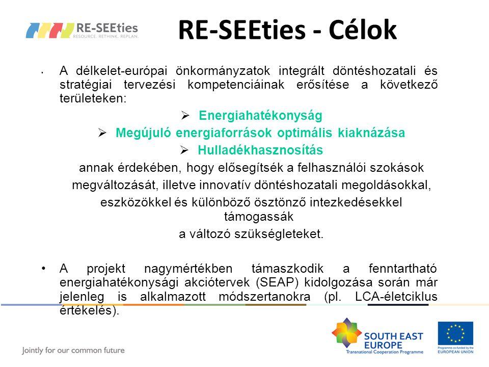 RE-SEEties - Célok A délkelet-európai önkormányzatok integrált döntéshozatali és stratégiai tervezési kompetenciáinak erősítése a következő területeken:  Energiahatékonyság  Megújuló energiaforrások optimális kiaknázása  Hulladékhasznosítás annak érdekében, hogy elősegítsék a felhasználói szokások megváltozását, illetve innovatív döntéshozatali megoldásokkal, eszközökkel és különböző ösztönző intezkedésekkel támogassák a változó szükségleteket.