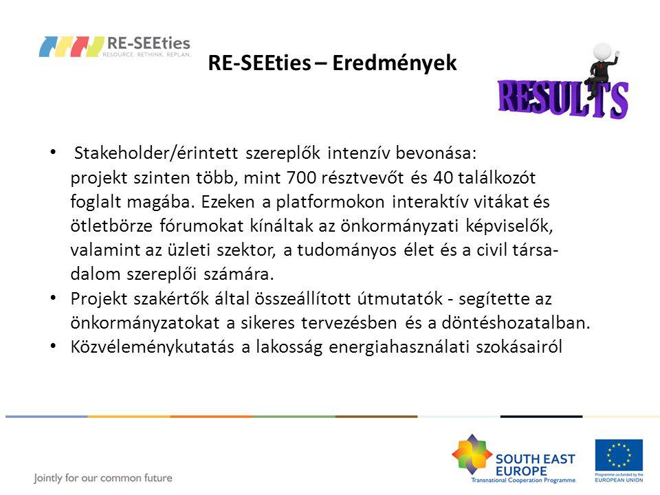 RE-SEEties – Eredmények Stakeholder/érintett szereplők intenzív bevonása: projekt szinten több, mint 700 résztvevőt és 40 találkozót foglalt magába.