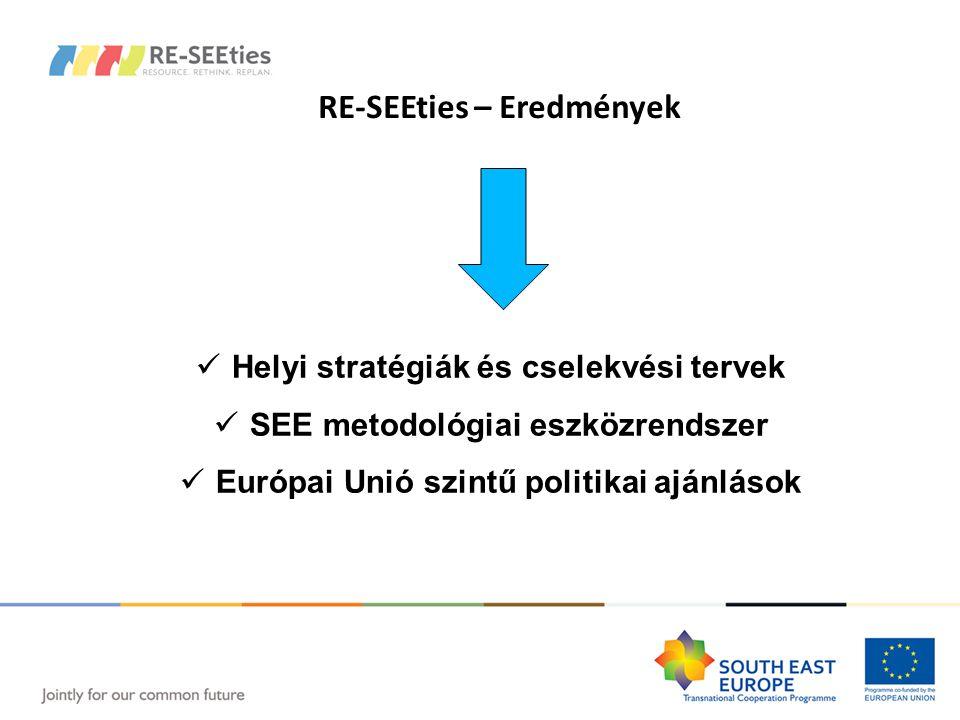 RE-SEEties – Eredmények Helyi stratégiák és cselekvési tervek SEE metodológiai eszközrendszer Európai Unió szintű politikai ajánlások RE-SEEties – Eredmények Helyi stratégiák és cselekvési tervek SEE metodológiai eszközrendszer Európai Unió szintű politikai ajánlások