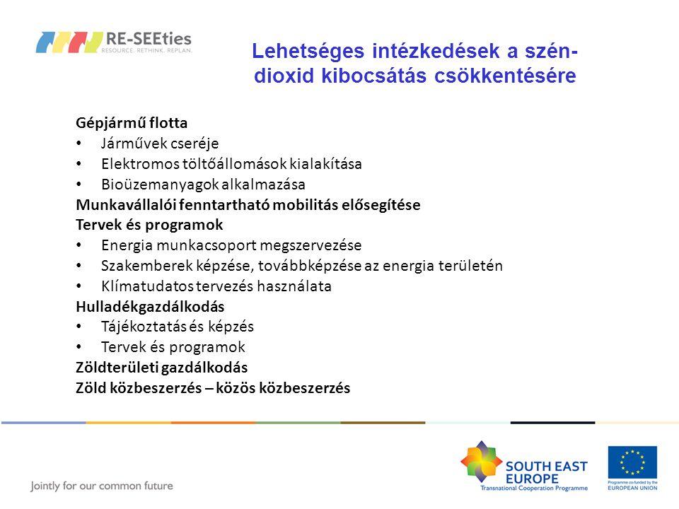 Gépjármű flotta Járművek cseréje Elektromos töltőállomások kialakítása Bioüzemanyagok alkalmazása Munkavállalói fenntartható mobilitás elősegítése Tervek és programok Energia munkacsoport megszervezése Szakemberek képzése, továbbképzése az energia területén Klímatudatos tervezés használata Hulladékgazdálkodás Tájékoztatás és képzés Tervek és programok Zöldterületi gazdálkodás Zöld közbeszerzés – közös közbeszerzés Lehetséges intézkedések a szén- dioxid kibocsátás csökkentésére