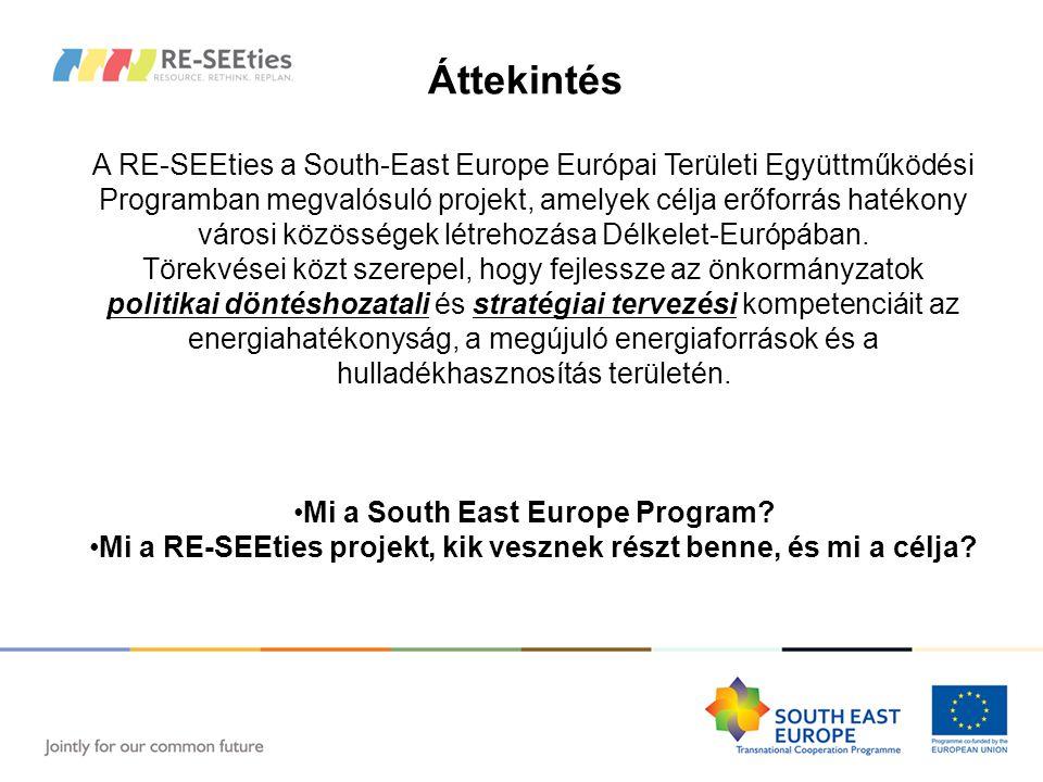 Áttekintés A RE-SEEties a South-East Europe Európai Területi Együttműködési Programban megvalósuló projekt, amelyek célja erőforrás hatékony városi közösségek létrehozása Délkelet-Európában.
