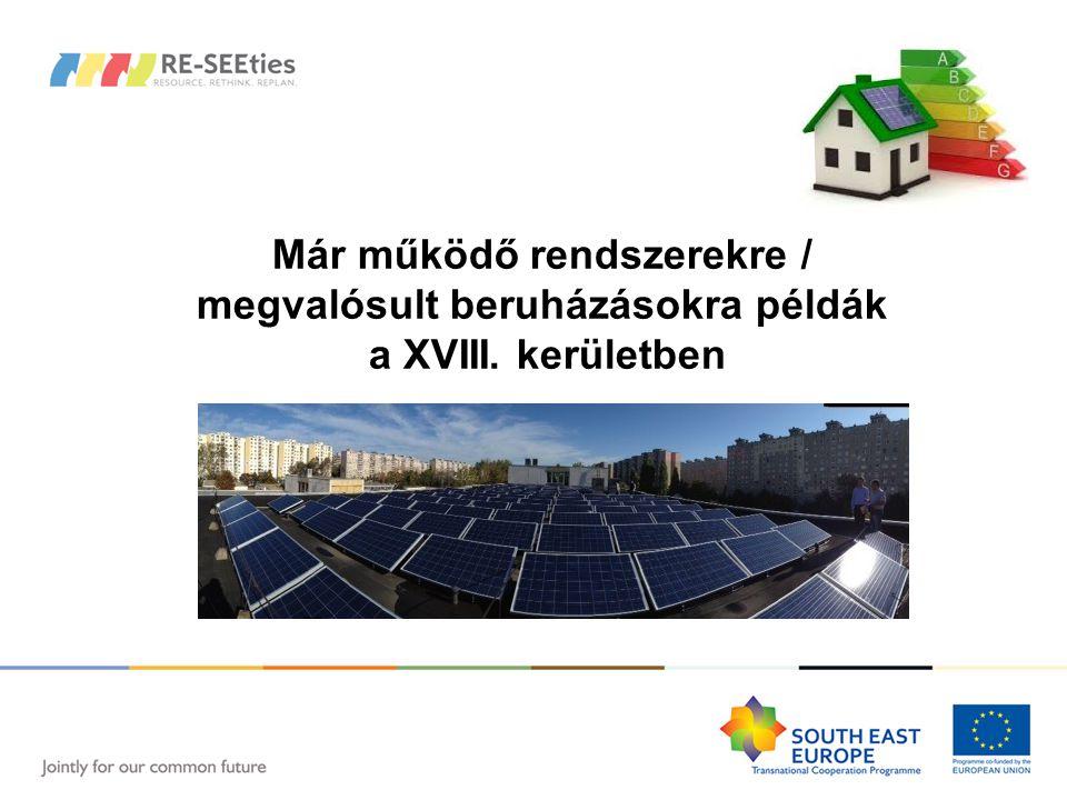 Már működő rendszerekre / megvalósult beruházásokra példák a XVIII. kerületben