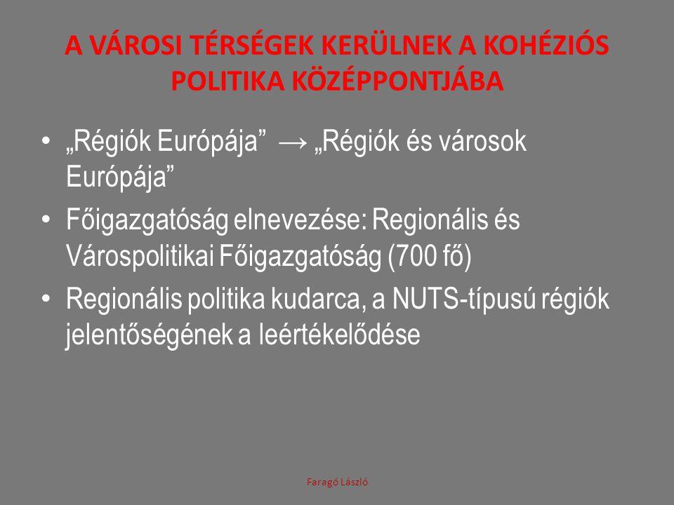 """A VÁROSI TÉRSÉGEK KERÜLNEK A KOHÉZIÓS POLITIKA KÖZÉPPONTJÁBA """"Régiók Európája → """"Régiók és városok Európája Főigazgatóság elnevezése: Regionális és Várospolitikai Főigazgatóság (700 fő) Regionális politika kudarca, a NUTS-típusú régiók jelentőségének a leértékelődése Faragó László"""