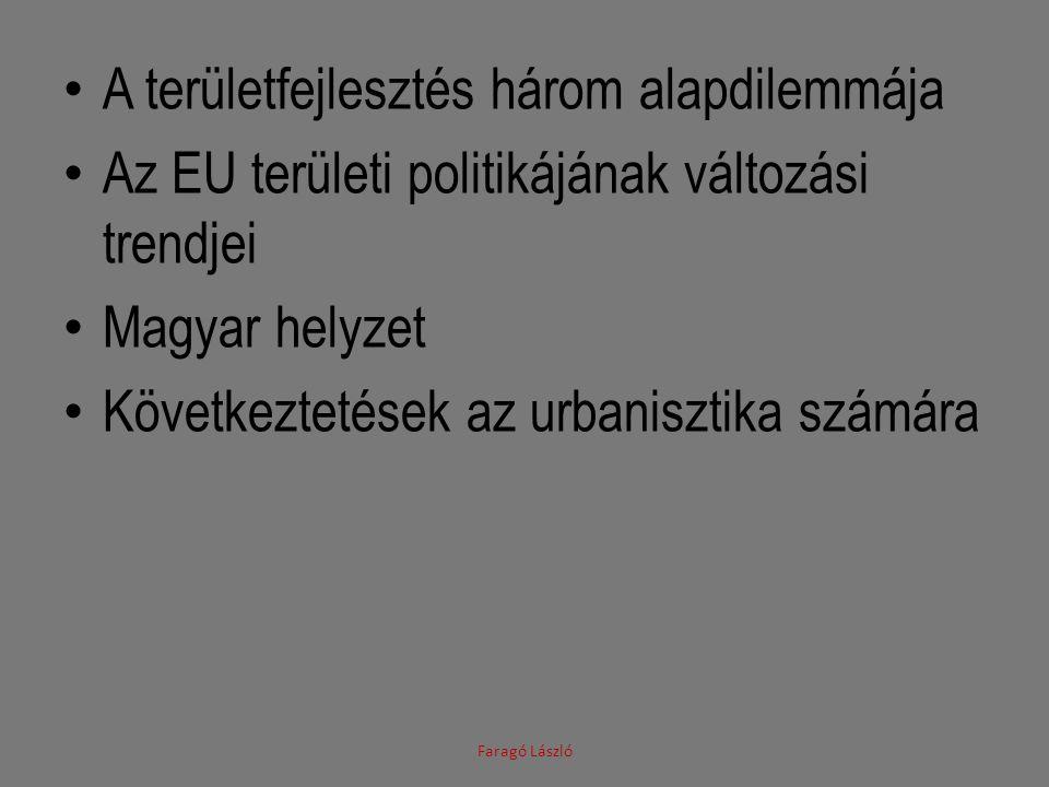 A területfejlesztés három alapdilemmája Az EU területi politikájának változási trendjei Magyar helyzet Következtetések az urbanisztika számára Faragó