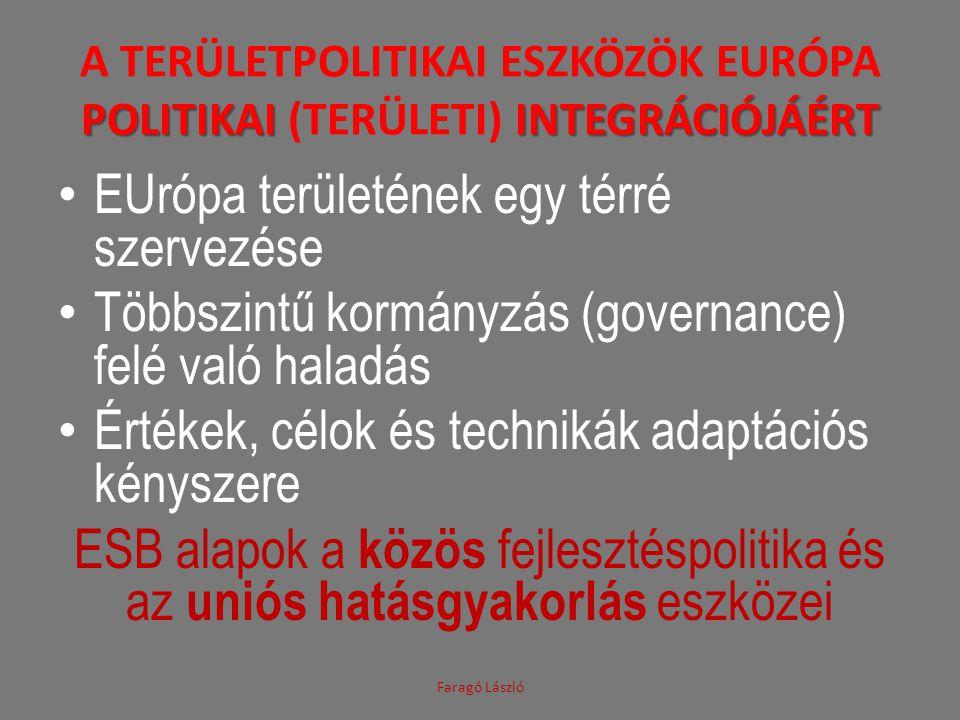 POLITIKAI INTEGRÁCIÓJÁÉRT A TERÜLETPOLITIKAI ESZKÖZÖK EURÓPA POLITIKAI (TERÜLETI) INTEGRÁCIÓJÁÉRT EUrópa területének egy térré szervezése Többszintű kormányzás (governance) felé való haladás Értékek, célok és technikák adaptációs kényszere ESB alapok a közös fejlesztéspolitika és az uniós hatásgyakorlás eszközei Faragó László