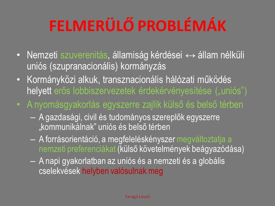 """FELMERÜLŐ PROBLÉMÁK Nemzeti szuverenitás, államiság kérdései ↔ állam nélküli uniós (szupranacionális) kormányzás Kormányközi alkuk, transznacionális hálózati működés helyett erős lobbiszervezetek érdekérvényesítése (""""uniós ) A nyomásgyakorlás egyszerre zajlik külső és belső térben – A gazdasági, civil és tudományos szereplők egyszerre """"kommunikálnak uniós és belső térben – A forrásorientáció, a megfeleléskényszer megváltoztatja a nemzeti preferenciákat (külső követelmények beágyazódása) – A napi gyakorlatban az uniós és a nemzeti és a globális cselekvések helyben valósulnak meg Faragó László"""