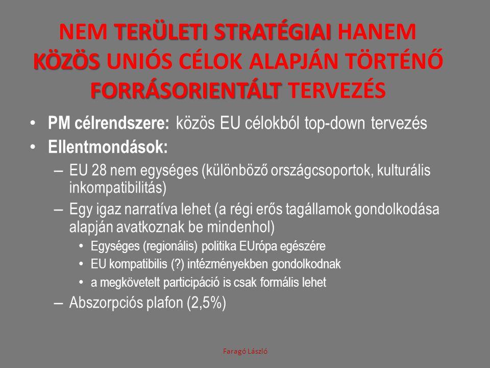 TERÜLETI STRATÉGIAI KÖZÖS FORRÁSORIENTÁLT NEM TERÜLETI STRATÉGIAI HANEM KÖZÖS UNIÓS CÉLOK ALAPJÁN TÖRTÉNŐ FORRÁSORIENTÁLT TERVEZÉS PM célrendszere: közös EU célokból top-down tervezés Ellentmondások: – EU 28 nem egységes (különböző országcsoportok, kulturális inkompatibilitás) – Egy igaz narratíva lehet (a régi erős tagállamok gondolkodása alapján avatkoznak be mindenhol) Egységes (regionális) politika EUrópa egészére EU kompatibilis ( ) intézményekben gondolkodnak a megkövetelt participáció is csak formális lehet – Abszorpciós plafon (2,5%) Faragó László