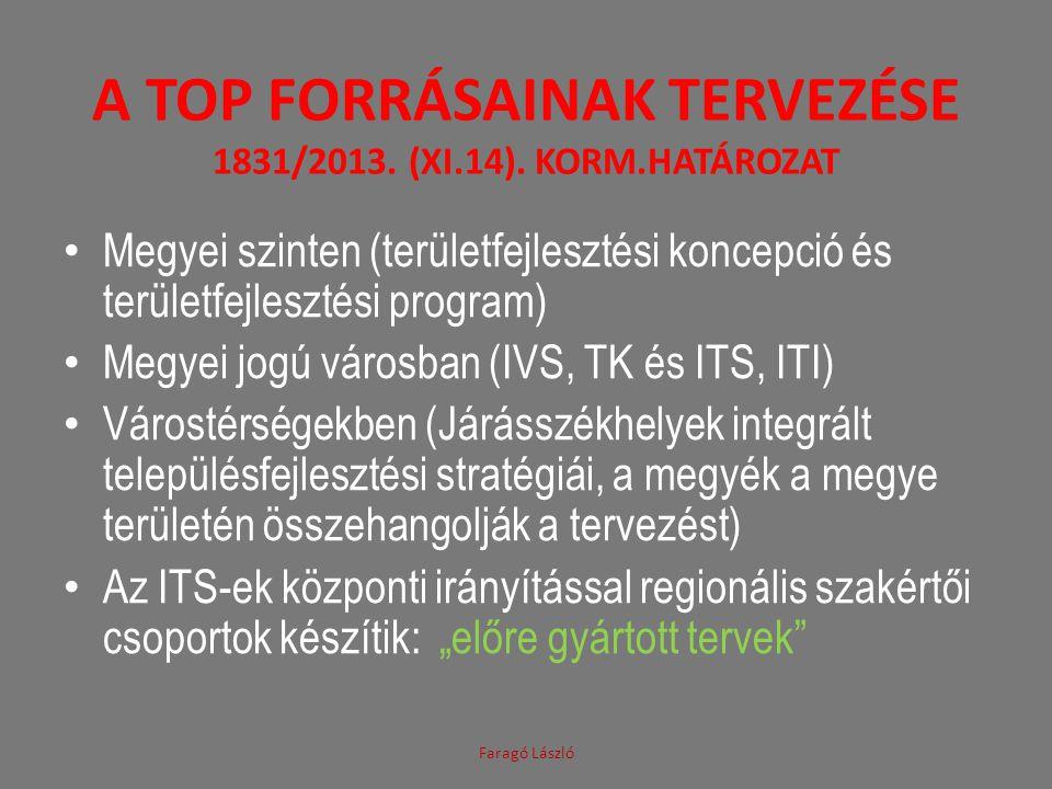 A TOP FORRÁSAINAK TERVEZÉSE 1831/2013. (XI.14). KORM.HATÁROZAT Megyei szinten (területfejlesztési koncepció és területfejlesztési program) Megyei jogú