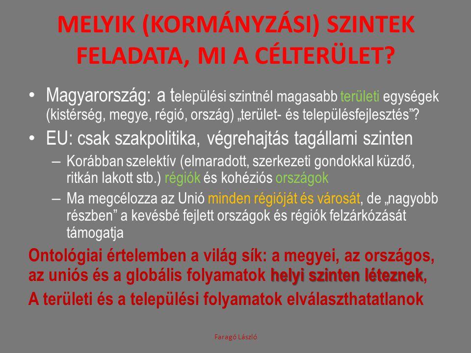 MELYIK (KORMÁNYZÁSI) SZINTEK FELADATA, MI A CÉLTERÜLET? Magyarország: a t elepülési szintnél magasabb területi egységek (kistérség, megye, régió, orsz