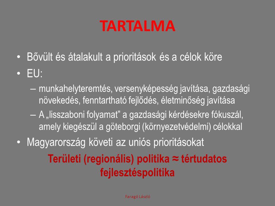 VÁROSFEJLESZTÉS Nem uniós, hanem tagállami hatáskör CEMAT, a területi tervezésért, a városfejlesztésért felelős miniszterek informális együttműködése Budapest Nyilatkozat 2004 Lipcsei Charta a fenntartható európai városokról 2007 Toledói Deklaráció 2010 Faragó László