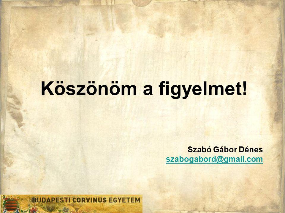 Köszönöm a figyelmet! Szabó Gábor Dénes szabogabord@gmail.com szabogabord@gmail.com