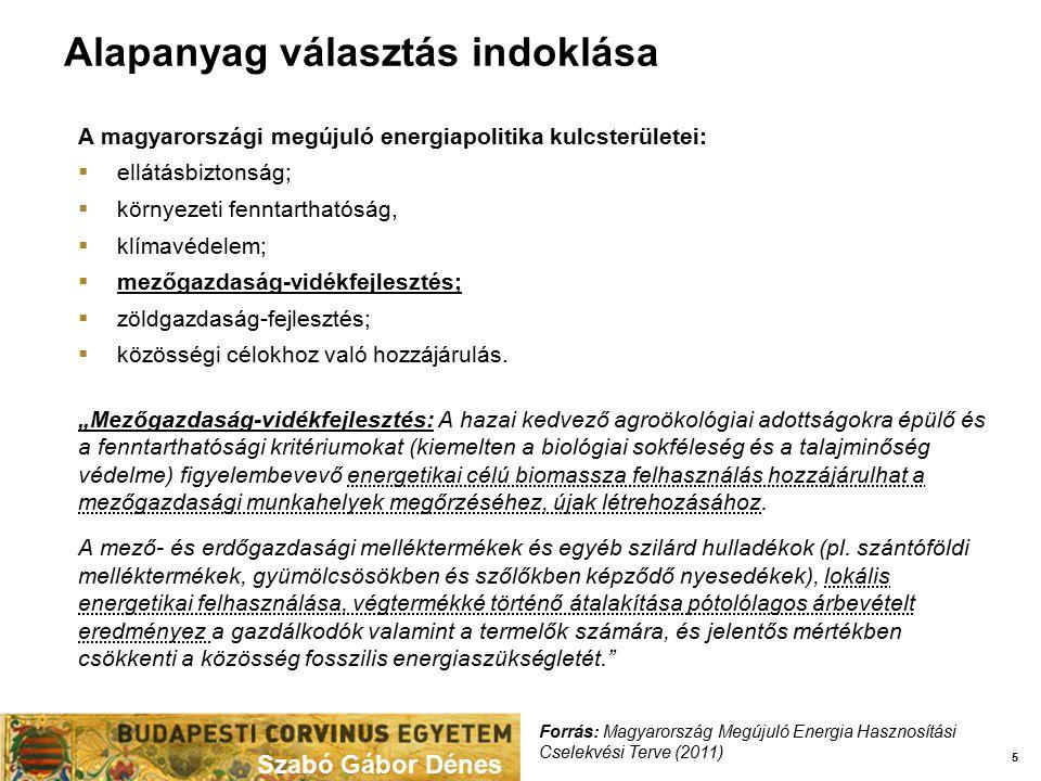 Alapanyag választás indoklása Szabó Gábor Dénes 5 A magyarországi megújuló energiapolitika kulcsterületei:  ellátásbiztonság;  környezeti fenntartha