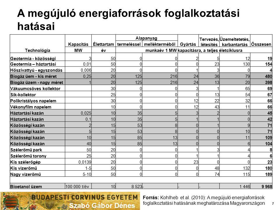 Szabó Gábor Dénes 7 Forrás: Kohlheb et al. (2010): A megújuló energiaforrások foglalkoztatási hatásának meghatározása Magyarországon A megújuló energi