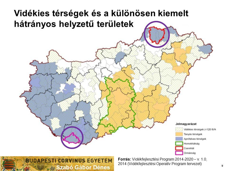 Szabó Gábor Dénes 9 Forrás: Vidékfejlesztési Program 2014-2020 – v. 1.0, 2014 (Vidékfejlesztési Operatív Program tervezet) Vidékies térségek és a külö