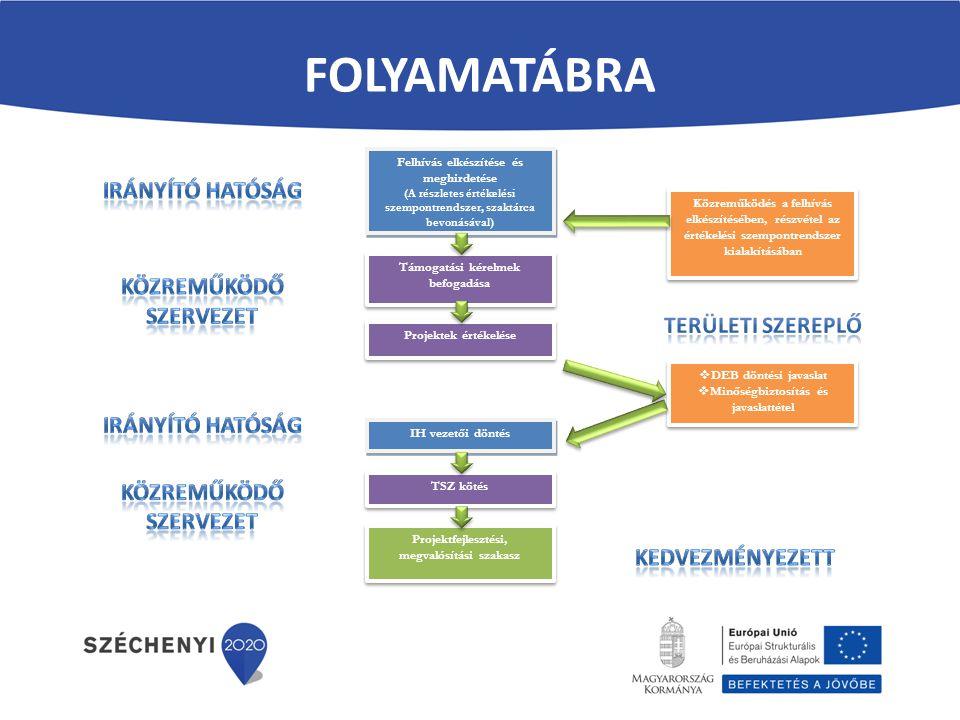 FOLYAMATÁBRA Felhívás elkészítése és meghirdetése (A részletes értékelési szempontrendszer, szaktárca bevonásával) Felhívás elkészítése és meghirdetés