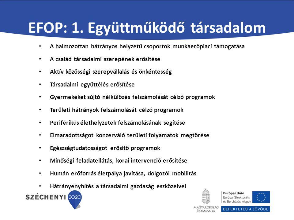 EFOP: 1. Együttműködő társadalom A halmozottan hátrányos helyzetű csoportok munkaerőpiaci támogatása A család társadalmi szerepének erősítése Aktív kö