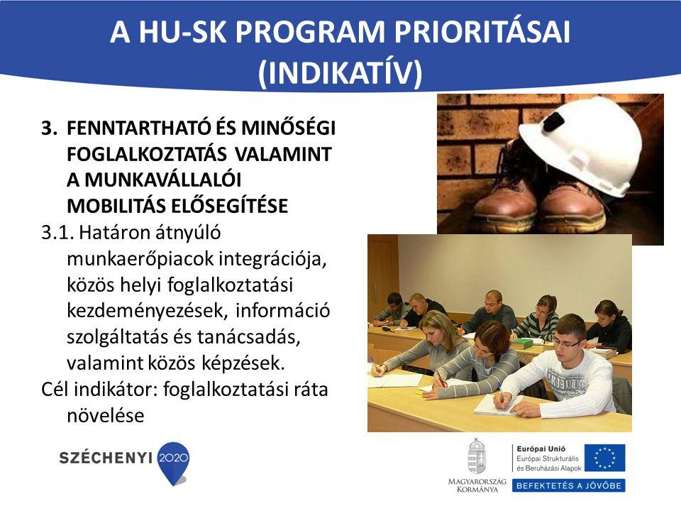 A HU-SK PROGRAM PRIORITÁSAI (INDIKATÍV) 3.FENNTARTHATÓ ÉS MINŐSÉGI FOGLALKOZTATÁS VALAMINT A MUNKAVÁLLALÓI MOBILITÁS ELŐSEGÍTÉSE 3.1. Határon átnyúló