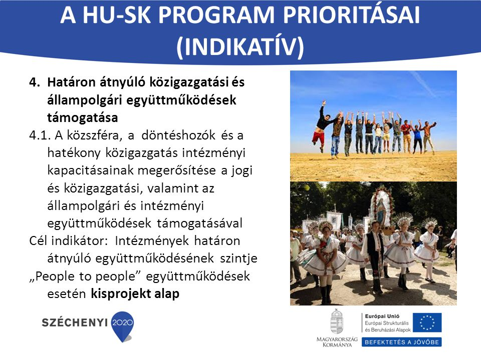 A HU-SK PROGRAM PRIORITÁSAI (INDIKATÍV) 4.Határon átnyúló közigazgatási és állampolgári együttműködések támogatása 4.1. A közszféra, a döntéshozók és
