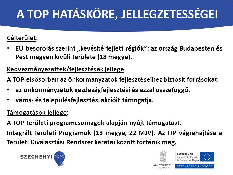 """A TOP HATÁSKÖRE, JELLEGZETESSÉGEI Célterület: EU besorolás szerint """"kevésbé fejlett régiók"""": az ország Budapesten és Pest megyén kívüli területe (18 m"""