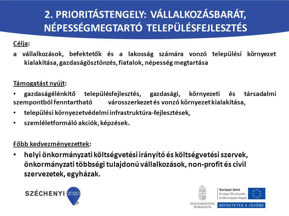 2. PRIORITÁSTENGELY: VÁLLALKOZÁSBARÁT, NÉPESSÉGMEGTARTÓ TELEPÜLÉSFEJLESZTÉS Célja: a vállalkozások, befektetők és a lakosság számára vonzó települési