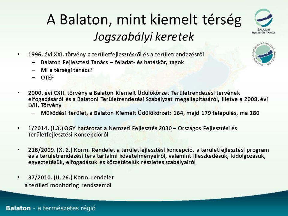 A Balaton, mint kiemelt térség Jogszabályi keretek 1996.