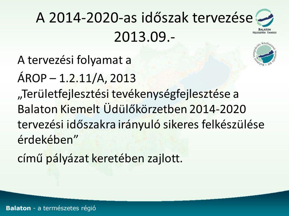 """A 2014-2020-as időszak tervezése 2013.09.- A tervezési folyamat a ÁROP – 1.2.11/A, 2013 """"Területfejlesztési tevékenységfejlesztése a Balaton Kiemelt Üdülőkörzetben 2014-2020 tervezési időszakra irányuló sikeres felkészülése érdekében című pályázat keretében zajlott."""
