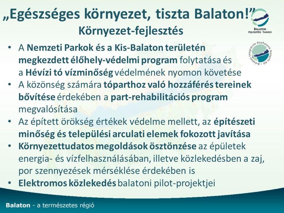 """""""Egészséges környezet, tiszta Balaton! Környezet-fejlesztés A Nemzeti Parkok és a Kis-Balaton területén megkezdett élőhely-védelmi program folytatása és a Hévízi tó vízminőség védelmének nyomon követése A közönség számára tóparthoz való hozzáférés tereinek bővítése érdekében a part-rehabilitációs program megvalósítása Az épített örökség értékek védelme mellett, az építészeti minőség és települési arculati elemek fokozott javítása Környezettudatos megoldások ösztönzése az épületek energia- és vízfelhasználásában, illetve közlekedésben a zaj, por szennyezések mérséklése érdekében is Elektromos közlekedés balatoni pilot-projektjei"""