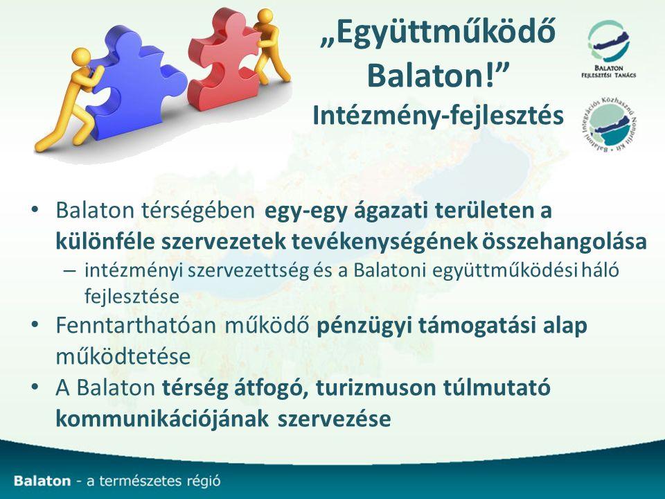 """""""Együttműködő Balaton! Intézmény-fejlesztés Balaton térségében egy-egy ágazati területen a különféle szervezetek tevékenységének összehangolása – intézményi szervezettség és a Balatoni együttműködési háló fejlesztése Fenntarthatóan működő pénzügyi támogatási alap működtetése A Balaton térség átfogó, turizmuson túlmutató kommunikációjának szervezése"""