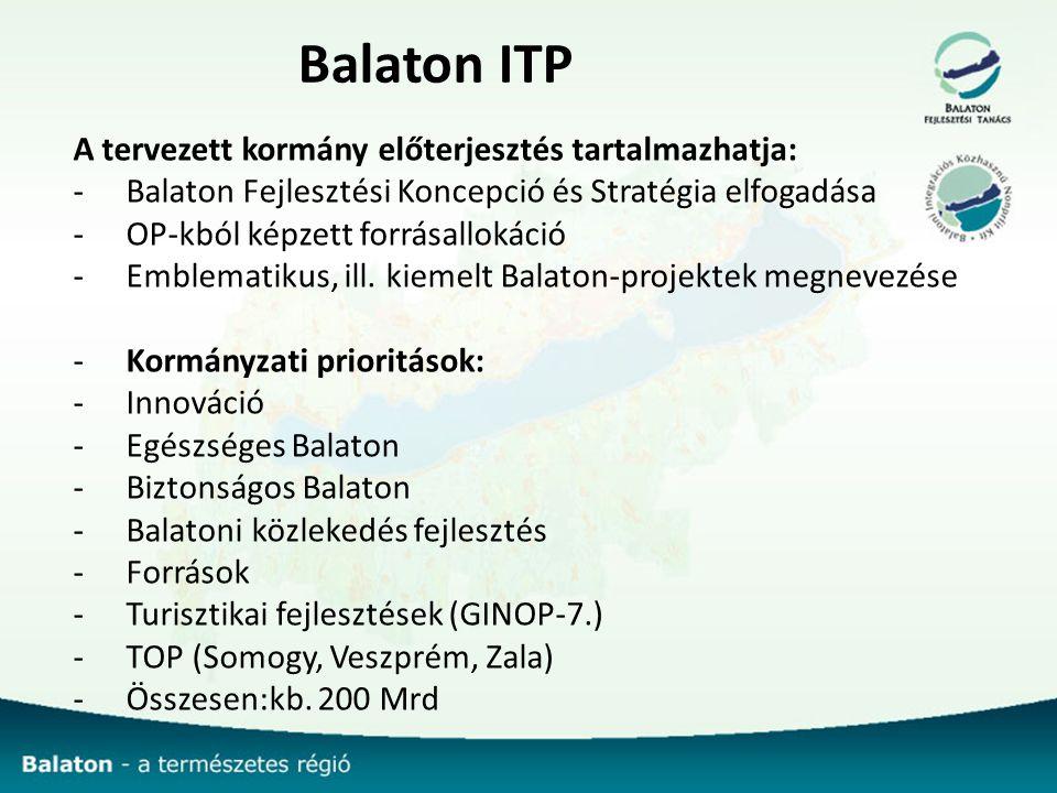 Balaton ITP A tervezett kormány előterjesztés tartalmazhatja: -Balaton Fejlesztési Koncepció és Stratégia elfogadása -OP-kból képzett forrásallokáció -Emblematikus, ill.