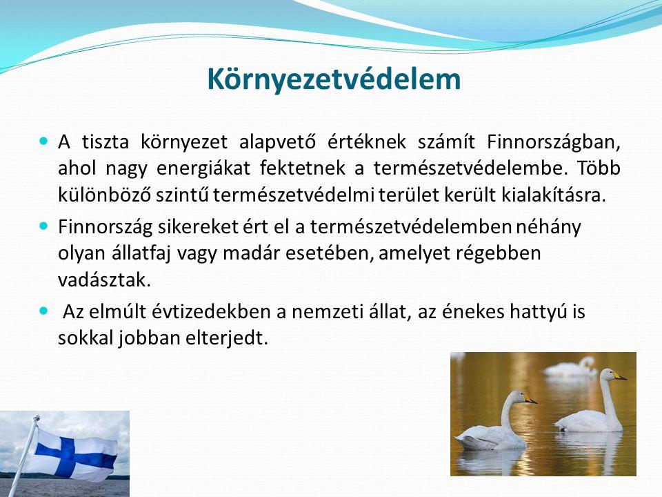 Környezetvédelem A tiszta környezet alapvető értéknek számít Finnországban, ahol nagy energiákat fektetnek a természetvédelembe. Több különböző szintű