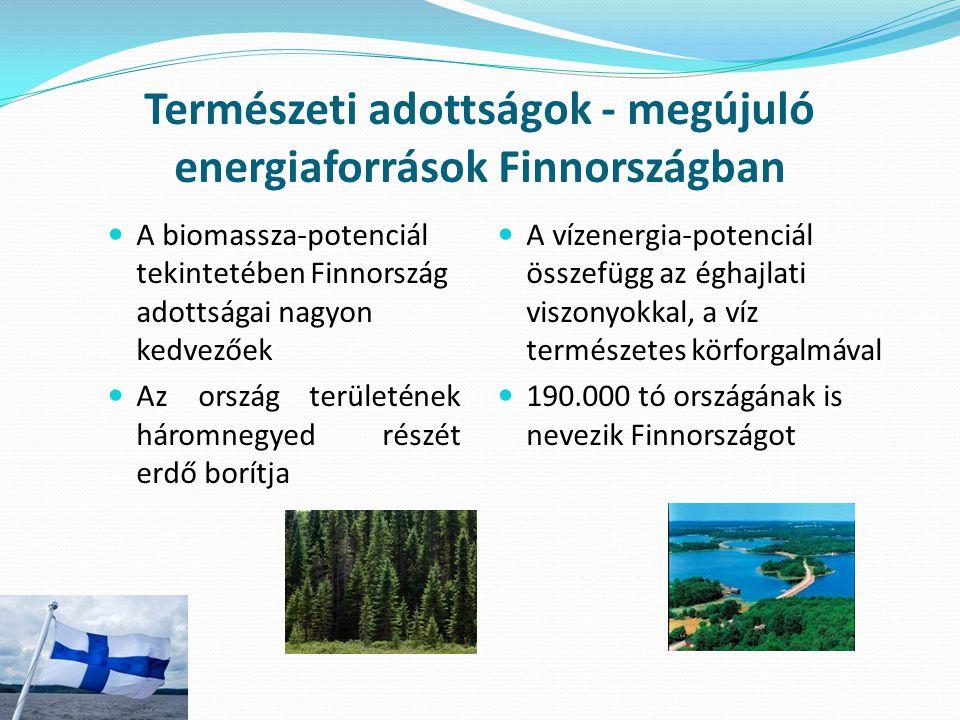 Természeti adottságok - megújuló energiaforrások Finnországban A biomassza-potenciál tekintetében Finnország adottságai nagyon kedvezőek Az ország ter