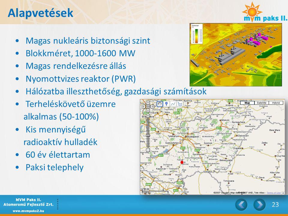 Alapvetések Magas nukleáris biztonsági szint Blokkméret, 1000-1600 MW Magas rendelkezésre állás Nyomottvizes reaktor (PWR) Hálózatba illeszthetőség, gazdasági számítások Terheléskövető üzemre alkalmas (50-100%) Kis mennyiségű radioaktív hulladék 60 év élettartam Paksi telephely