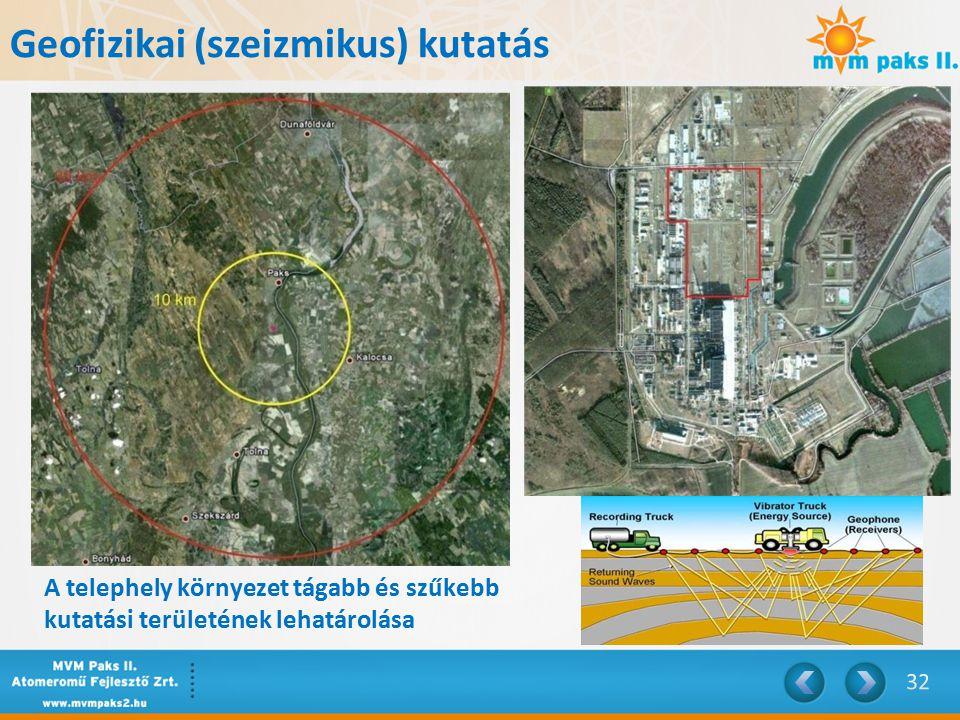 A telephely környezet tágabb és szűkebb kutatási területének lehatárolása Geofizikai (szeizmikus) kutatás