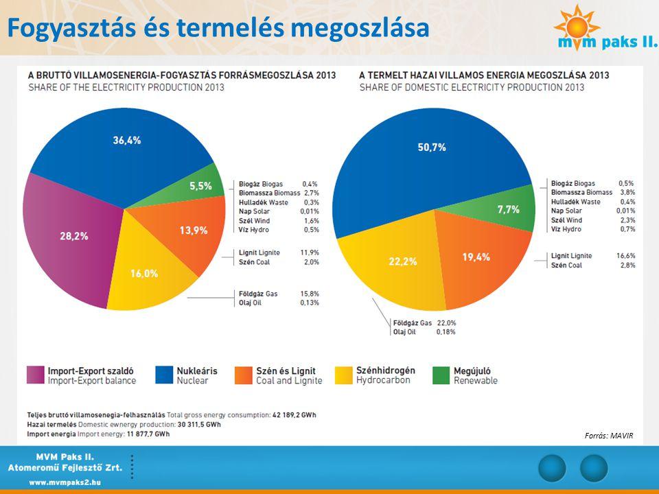 A magyar VER bruttó tény energiaigénye, az export-import részarány Forrás: MAVIR