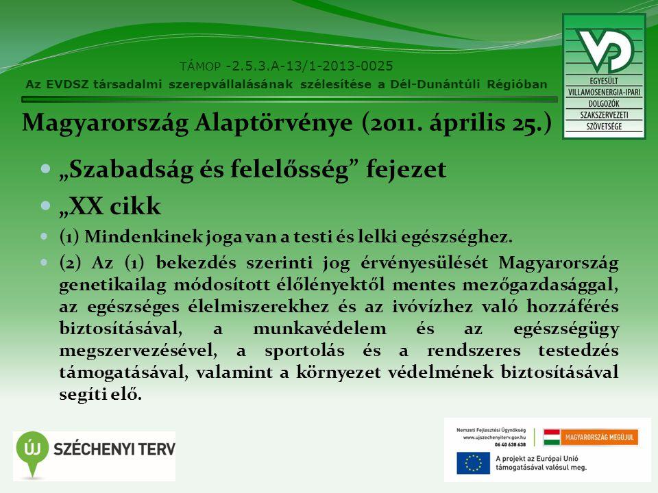 """Magyarország Alaptörvénye (2011. április 25.) """"Szabadság és felelősség"""" fejezet """"XX cikk (1) Mindenkinek joga van a testi és lelki egészséghez. (2) Az"""
